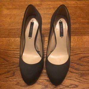 Zara black satin high heels size 6